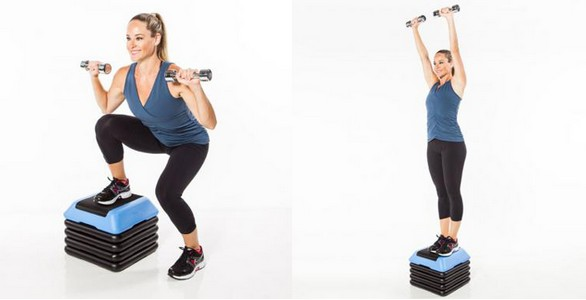 问题部位:大腿、上臂、肚子。      解决问题:全身雕塑运动、燃脂有氧运动。   训练法: 1周2-3次。组与组间刚开始稍微可以休息,熟悉后不用休息。搭配有氧运动。   Lateral Step-Up Squat Press    拿一组哑铃,右脚站在运动踏板正中间,向下蹲,手肘弯曲,掌心朝前。向上延伸,左脚踏上踏板,双手举高,回到开始姿势,右脚重复10次后换左脚。   Rear Lunge Row Taps    拿一组哑铃,右脚踩上踏板,左脚向后踩,向下蹲,手握哑铃至右脚两侧,掌心朝内。左脚跨到