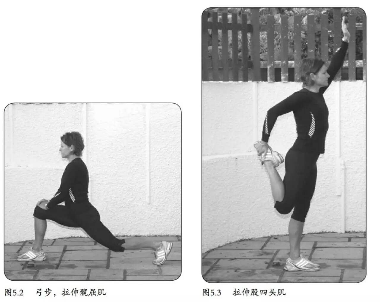做侧弓步(图5.4),后脚并平放在地上,轻轻地弯曲前腿的膝盖,直到你感觉腿部内侧的肌肉得到拉伸,保持上半身直立不要往前倾。    第二种拉伸练习(图5.5a和图5.5b)不仅能拉伸内收肌,还能拉伸腘绳肌、髋部、骨盆以及下背部。这是非常有用的拉伸方式,跨栏运动员经常用这种方法练习。单脚站立,侧面朝向桌子,将靠近桌子的脚和膝盖放在桌子上,小腿和大腿呈90,就好比跨栏运动员跨越障碍栏杆时的样子。然后,向前弯腰,用手轻轻地触地,呼气放松。    训练要点: